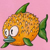 Marco Feo disegna il pesce palla.